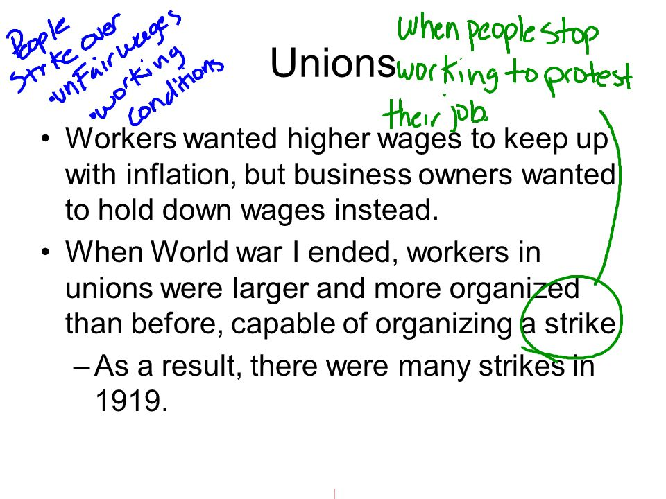 Unions Workers wanted higher wages to keep up with inflation, but business owners wanted to hold down wages instead.