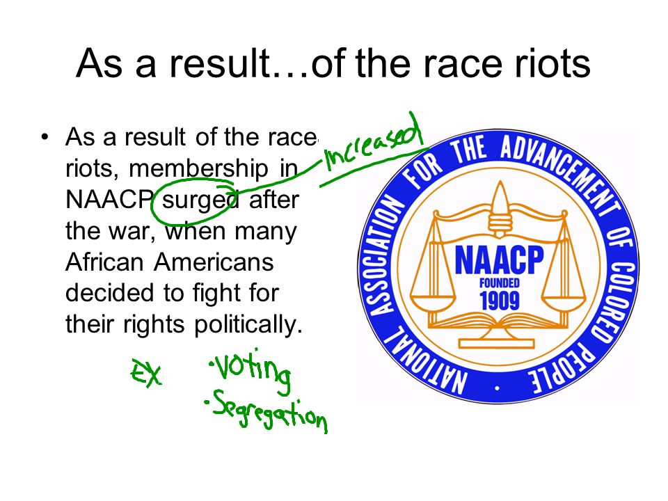 As a result…of the race riots
