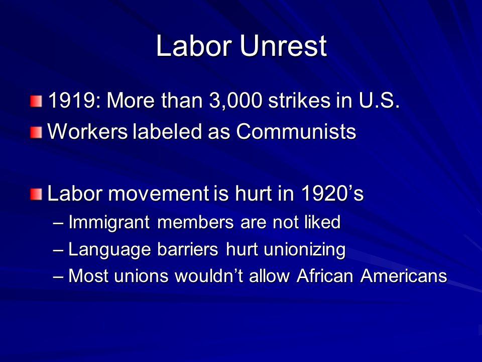 Labor Unrest 1919: More than 3,000 strikes in U.S.