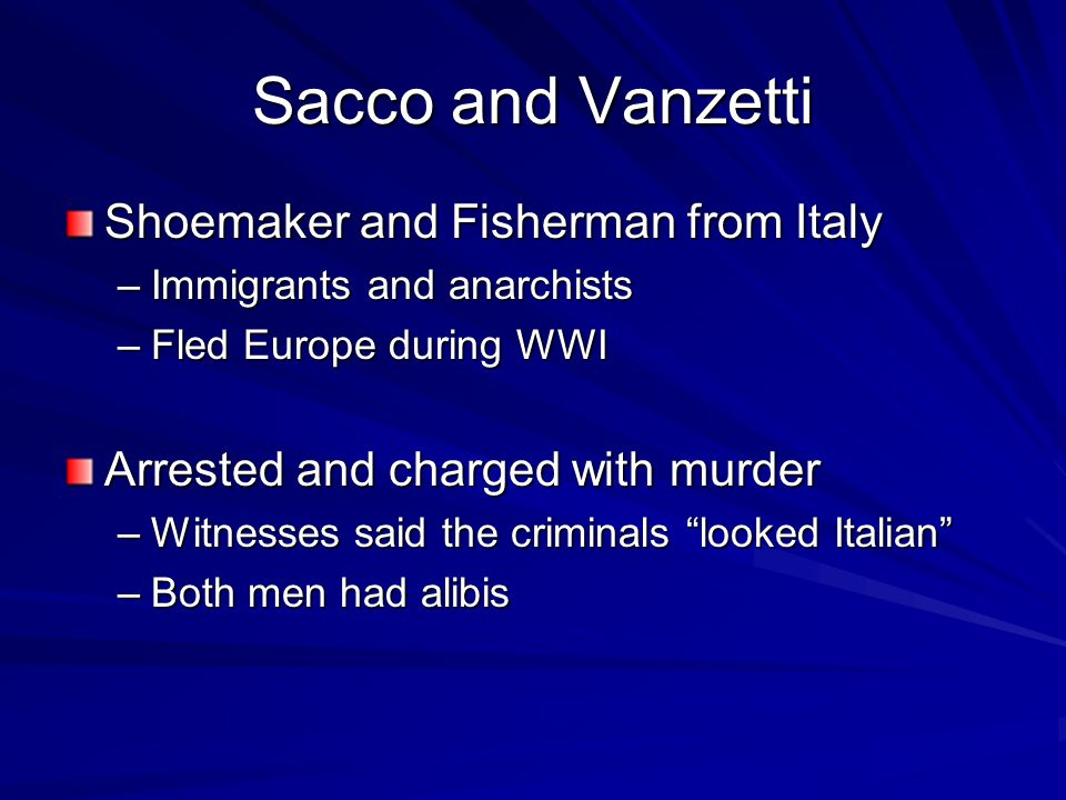 Sacco and Vanzetti Shoemaker and Fisherman from Italy