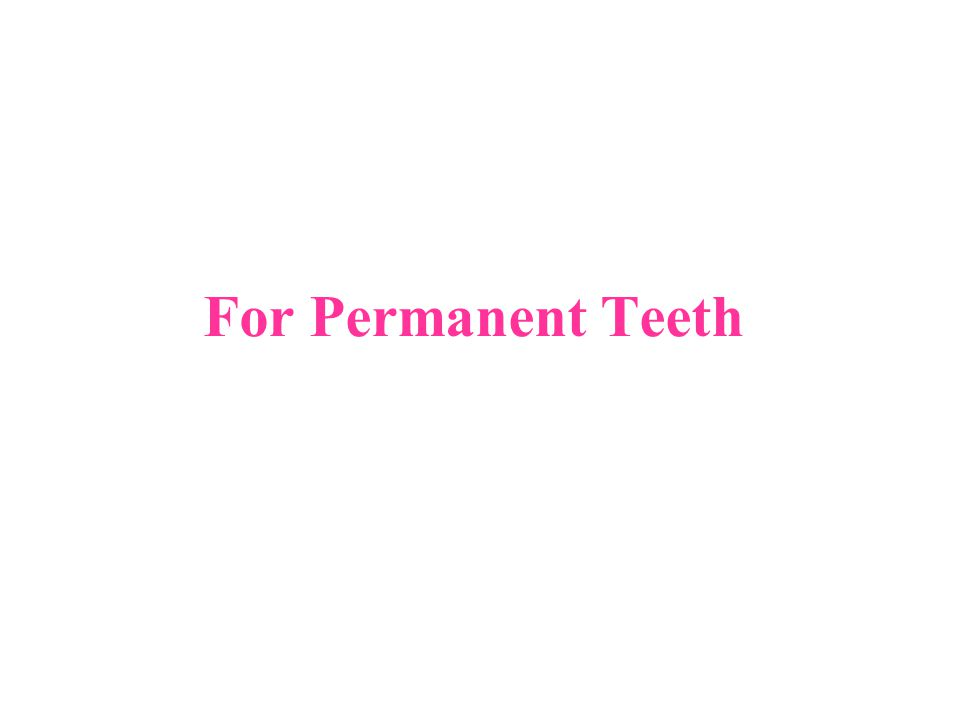 For Permanent Teeth