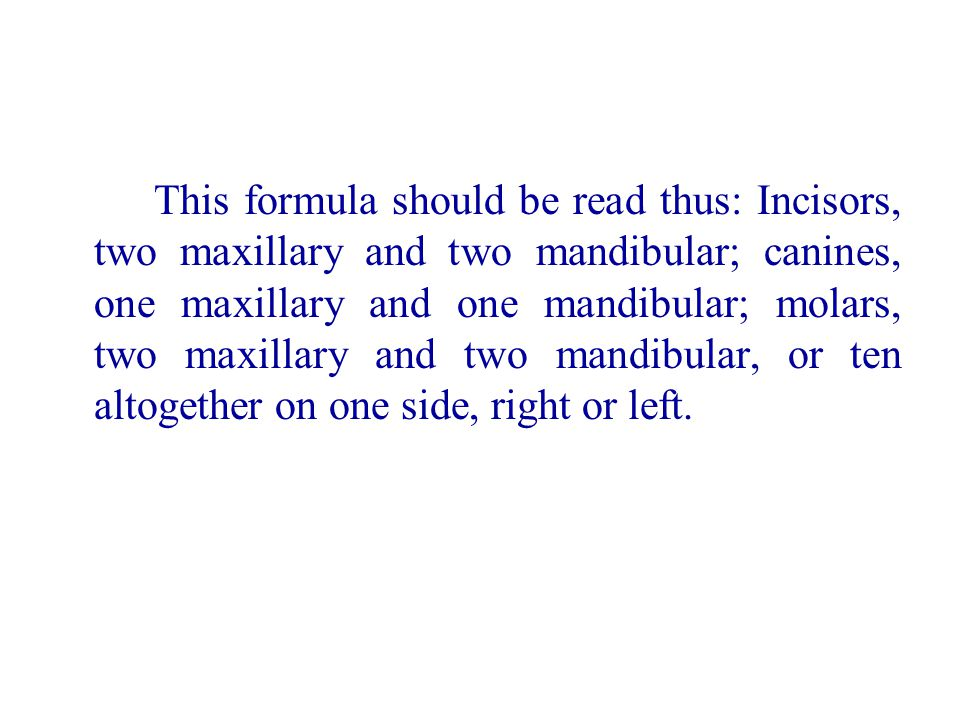 This formula should be read thus: Incisors, two maxillary and two mandibular; canines, one maxillary and one mandibular; molars, two maxillary and two mandibular, or ten altogether on one side, right or left.