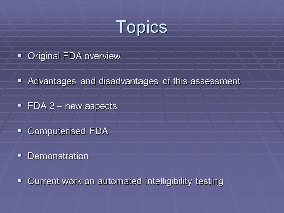 Topics Original FDA overview