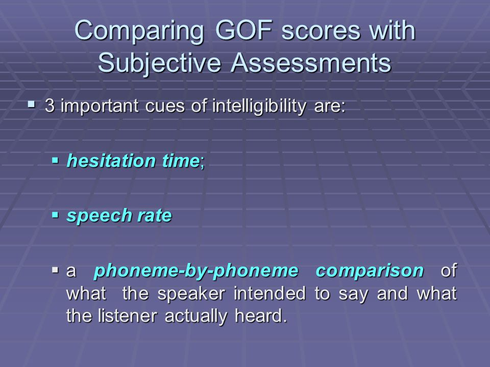 Comparing GOF scores with Subjective Assessments