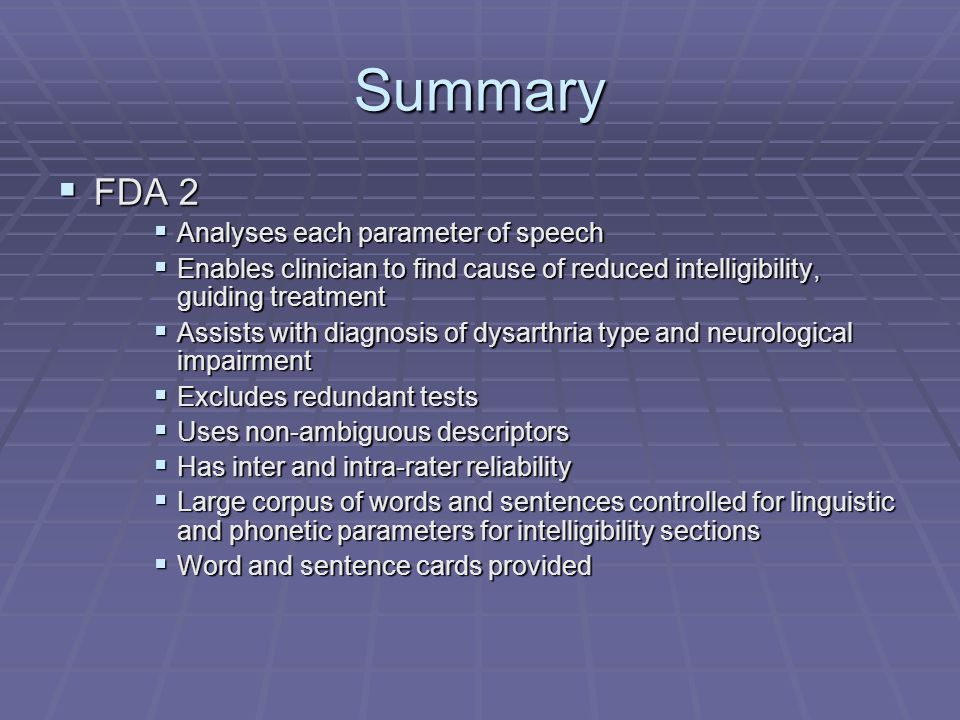 Summary FDA 2 Analyses each parameter of speech
