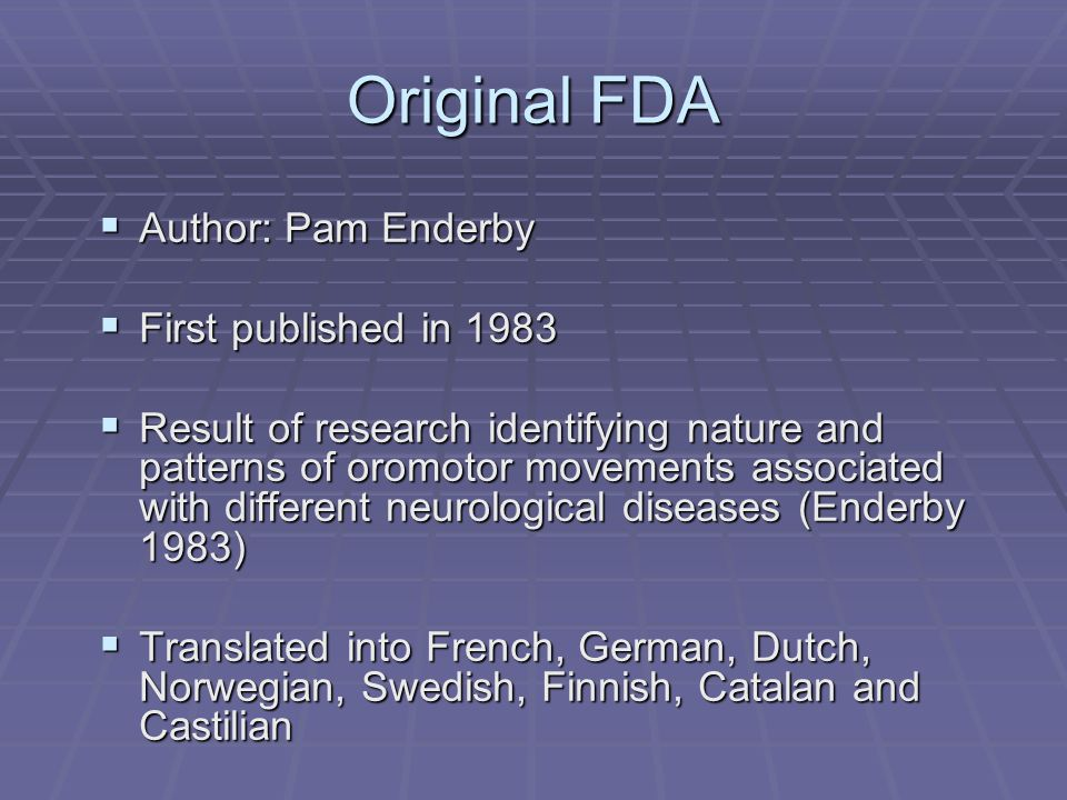 Original FDA Author: Pam Enderby First published in 1983