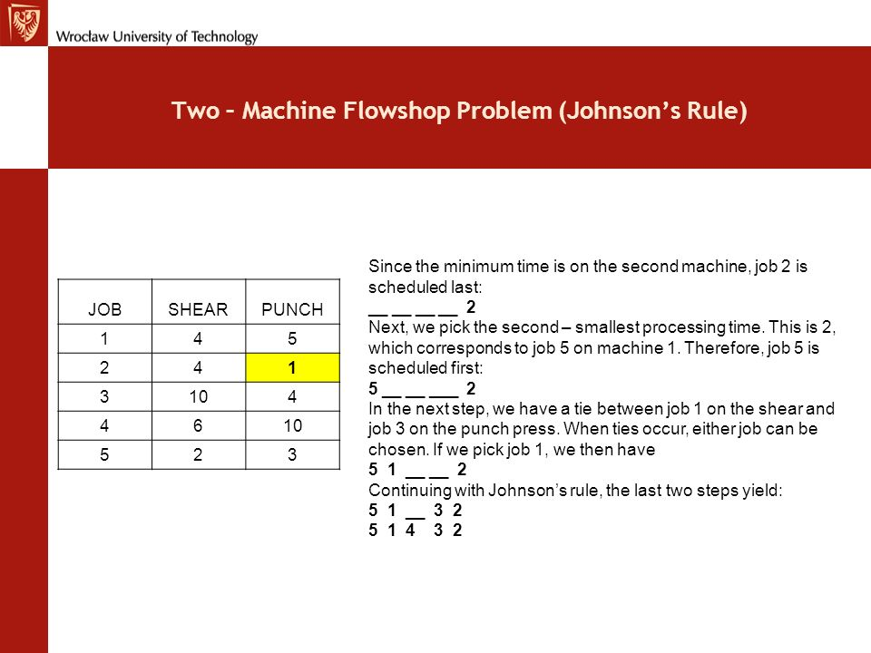 Two – Machine Flowshop Problem (Johnson's Rule)