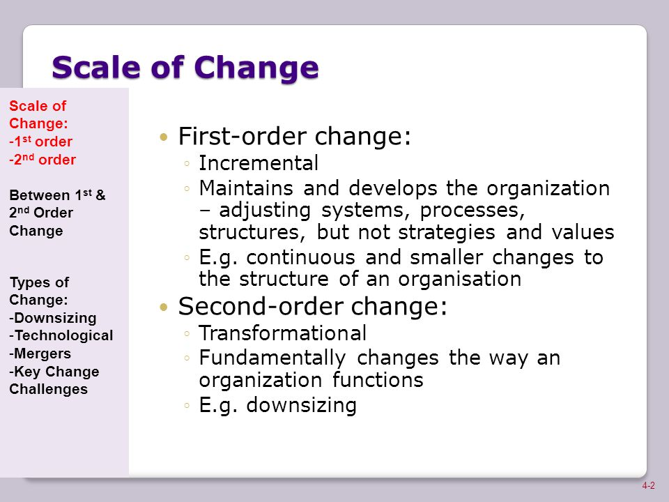 Scale of Change First-order change: Second-order change: Incremental