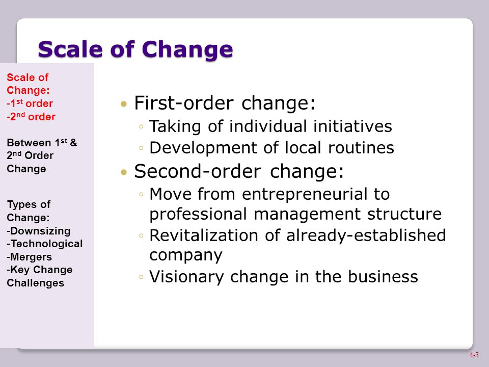 Scale of Change First-order change: Second-order change: