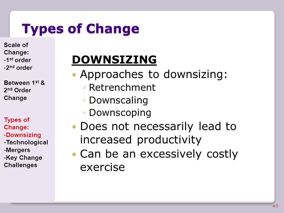 Types of Change DOWNSIZING Approaches to downsizing: