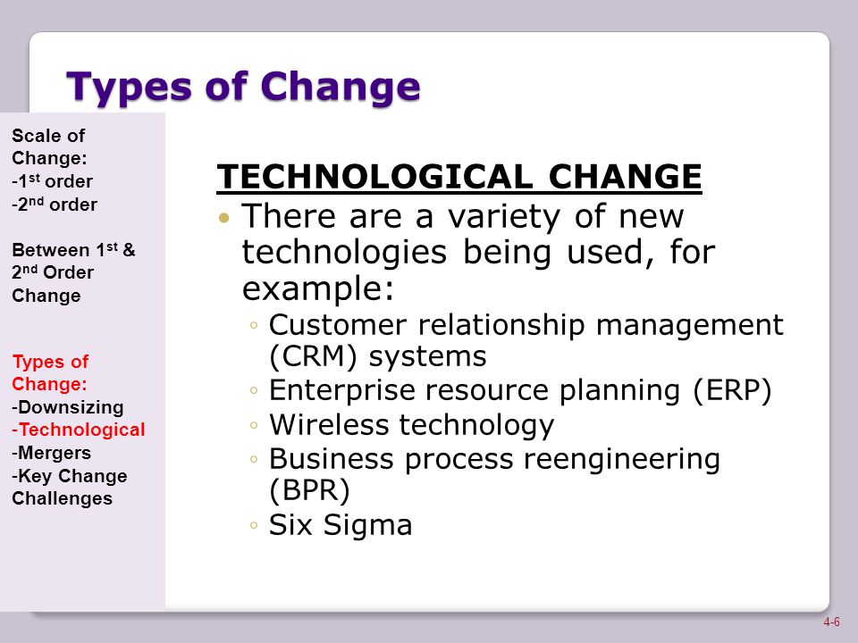 Types of Change TECHNOLOGICAL CHANGE