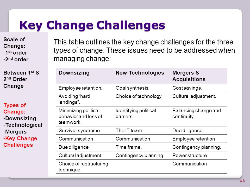Key Change Challenges Scale of Change: 1st order. 2nd order. Between 1st & 2nd Order Change. Types of Change: