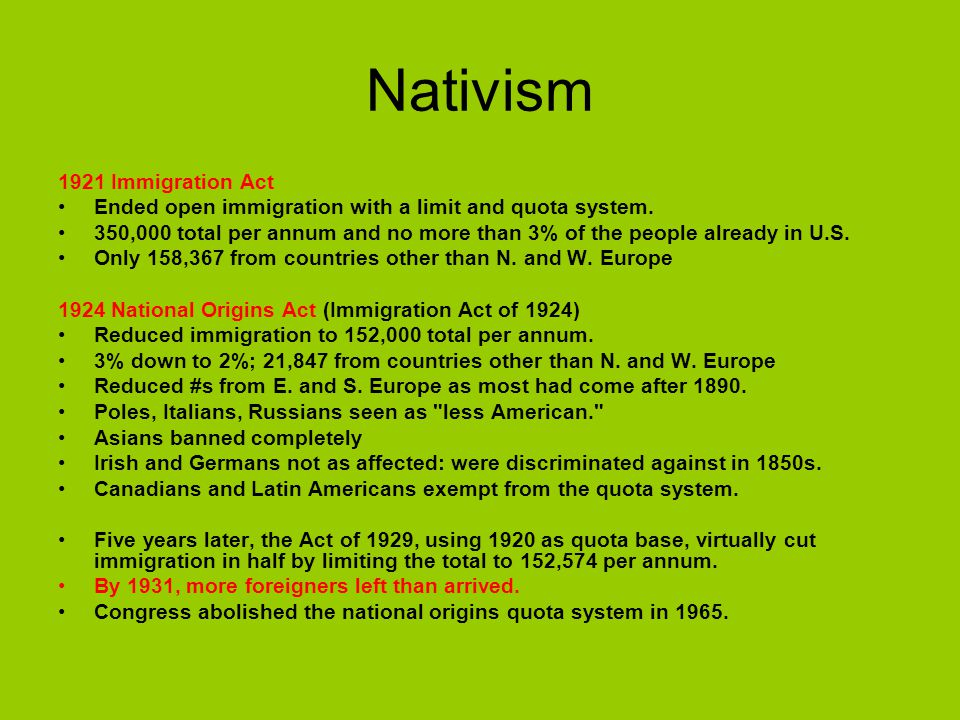 Nativism 1921 Immigration Act