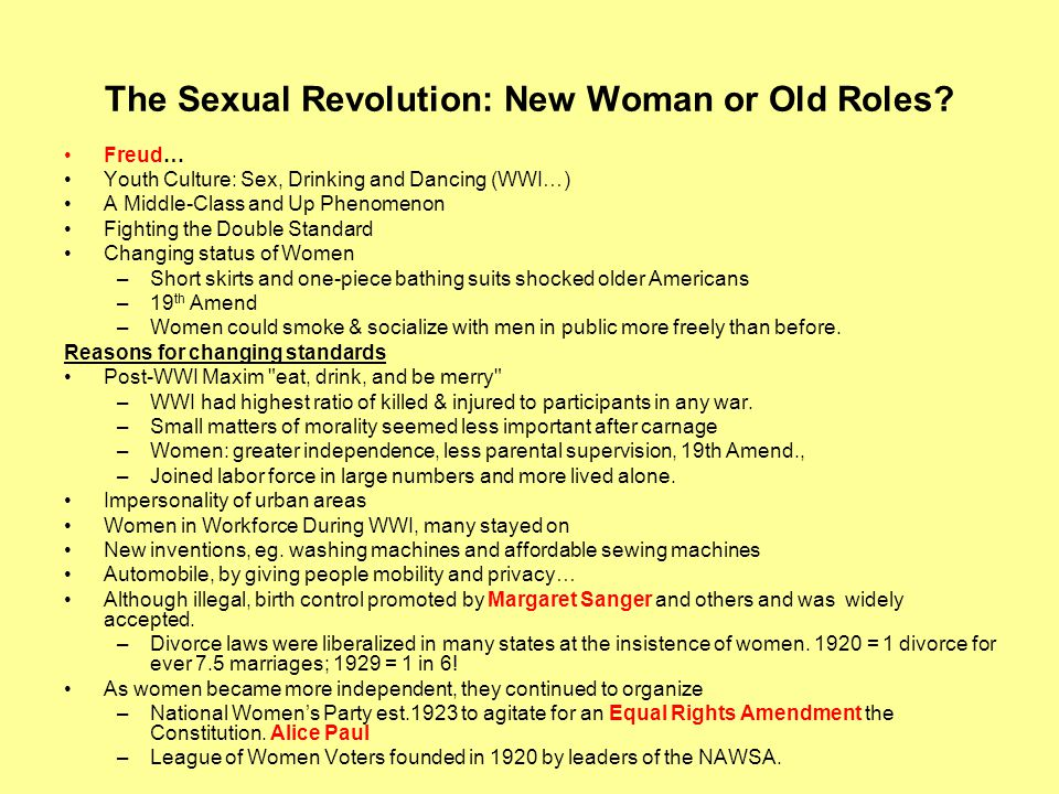 The Sexual Revolution: New Woman or Old Roles