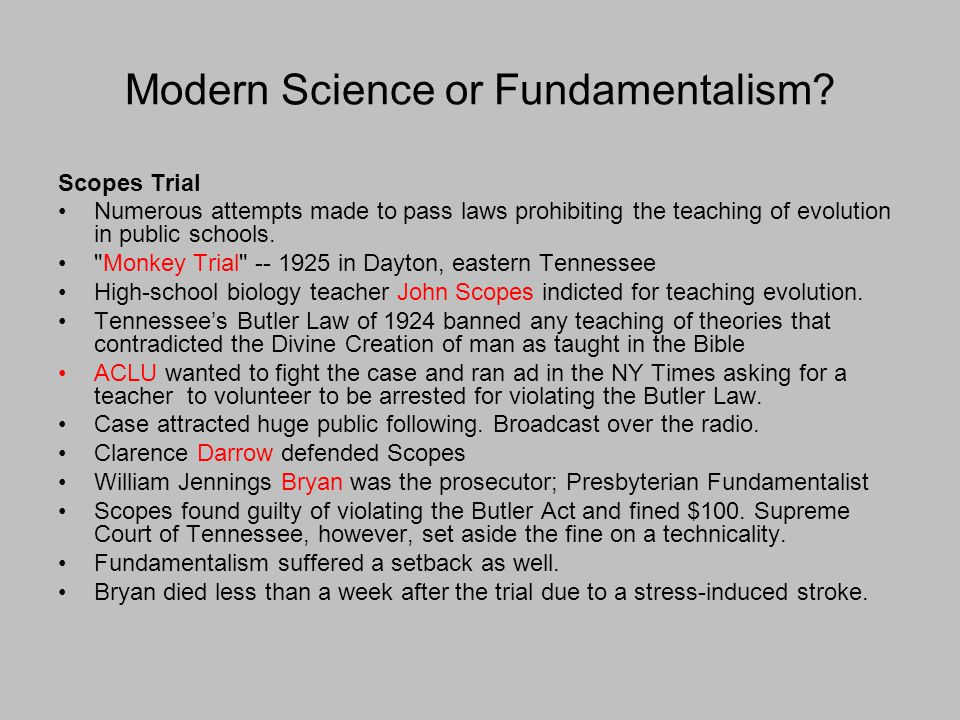 Modern Science or Fundamentalism