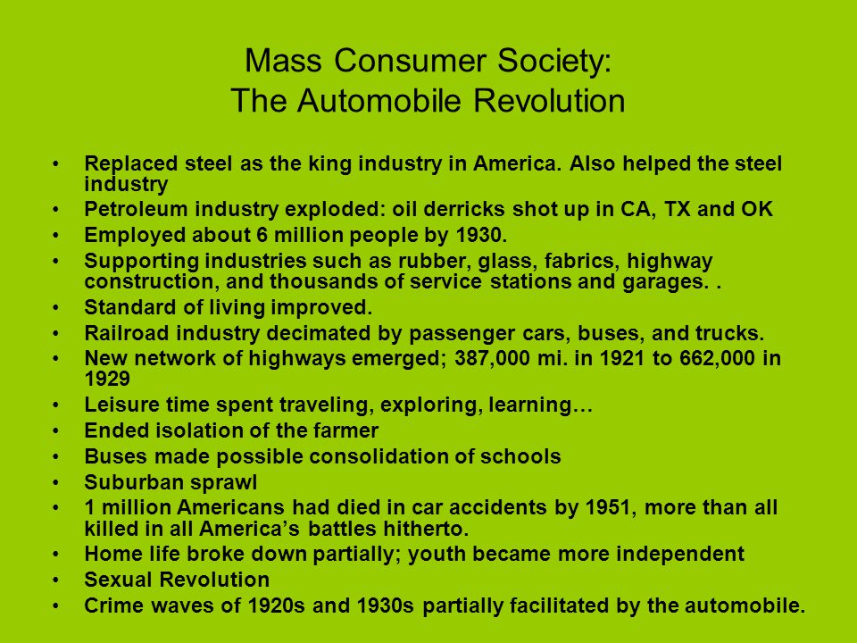 Mass Consumer Society: The Automobile Revolution