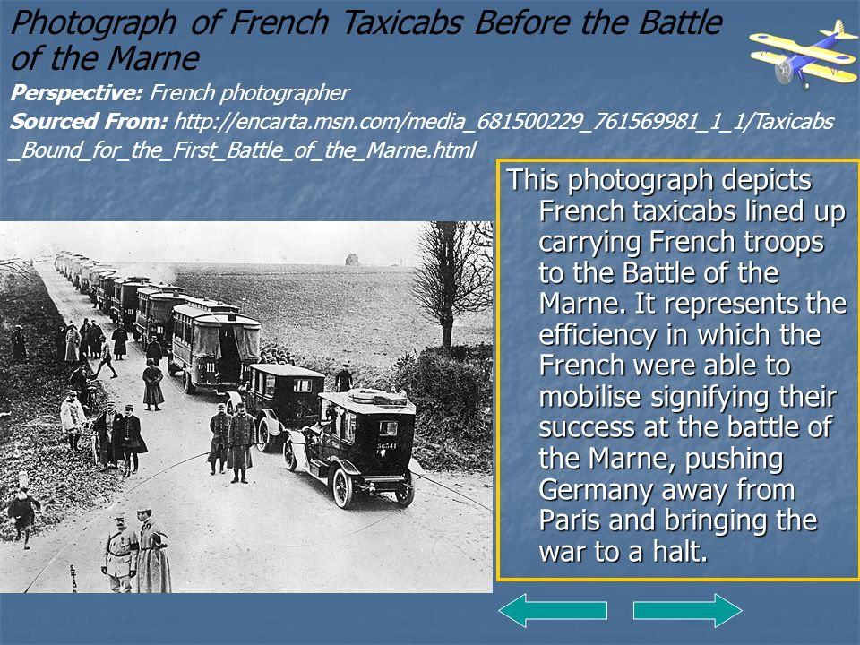 Photograph of French Taxicabs Before the Battle of the Marne
