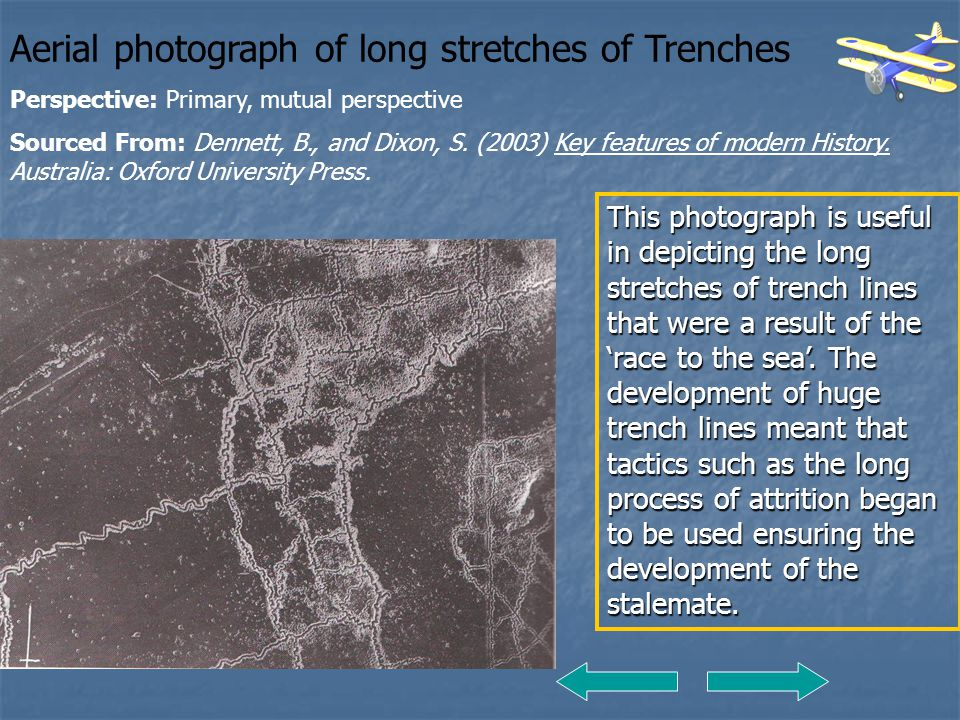 Aerial photograph of long stretches of Trenches