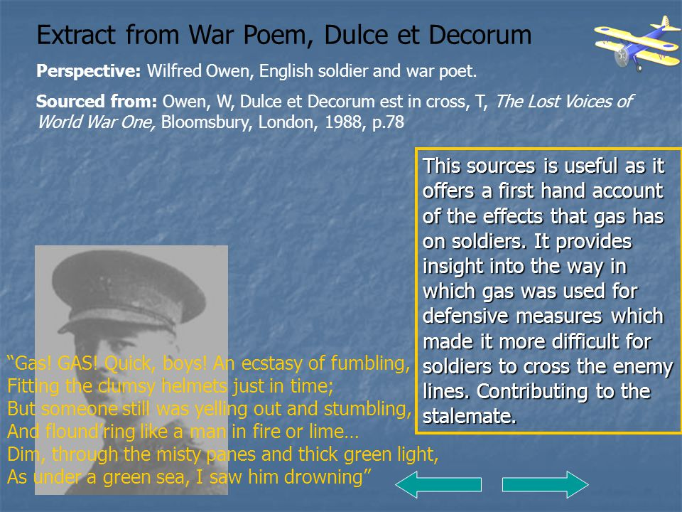 Extract from War Poem, Dulce et Decorum
