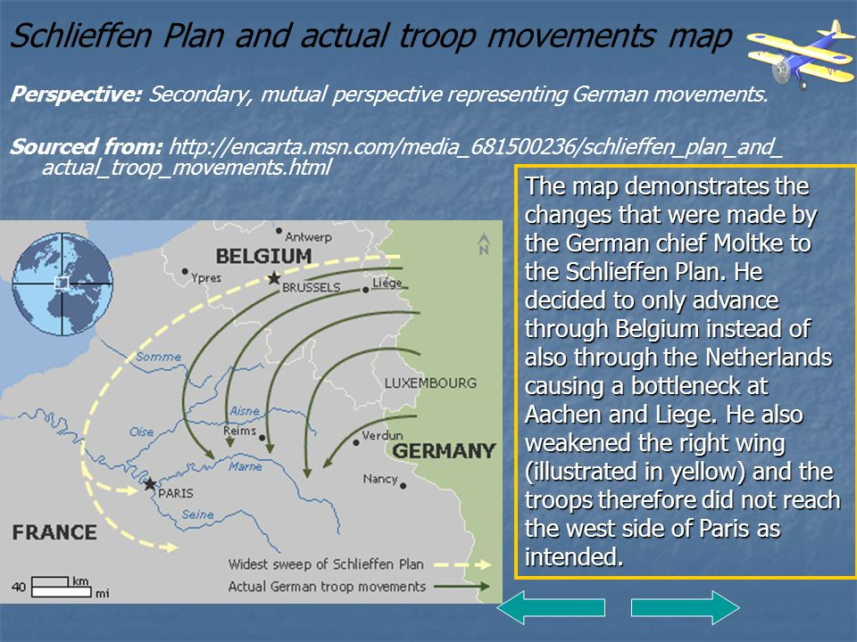 Schlieffen Plan and actual troop movements map