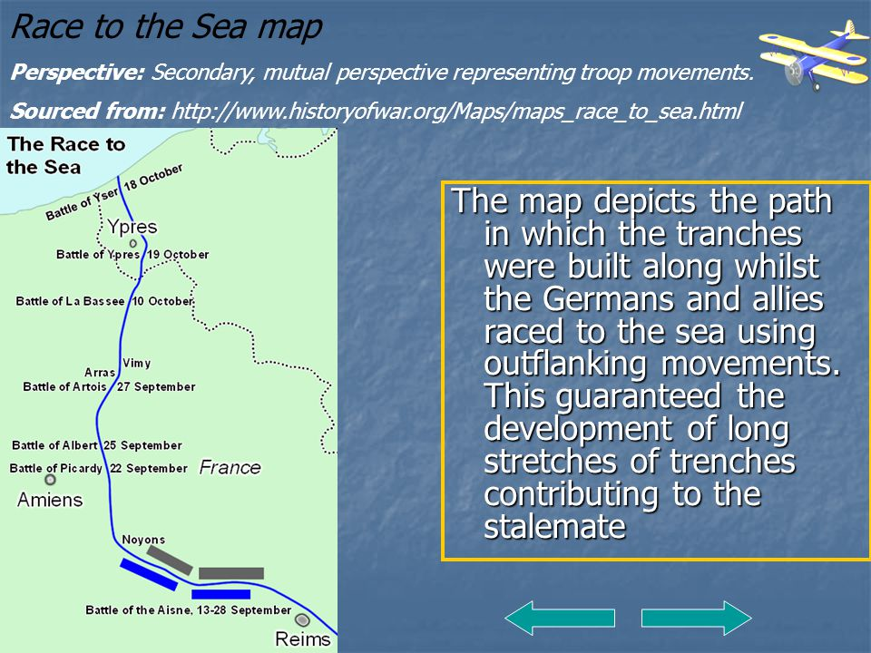 Race to the Sea map Perspective: Secondary, mutual perspective representing troop movements.