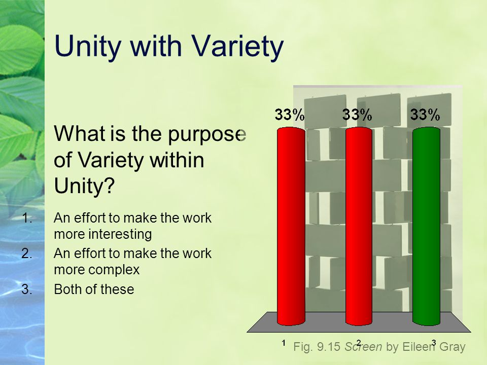 Unity with Variety What is the purpose of Variety within Unity