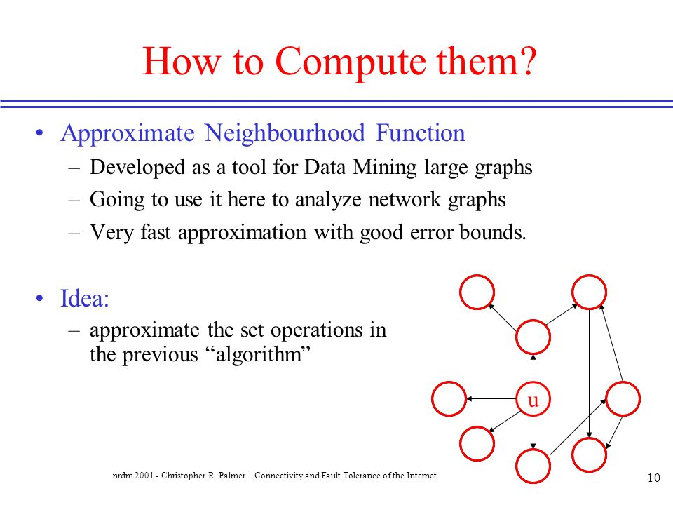 How to Compute them Approximate Neighbourhood Function Idea: