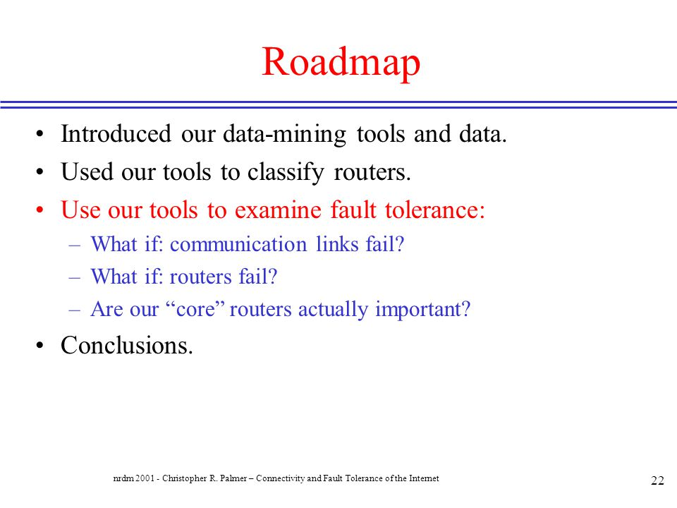 Roadmap Introduced our data-mining tools and data.