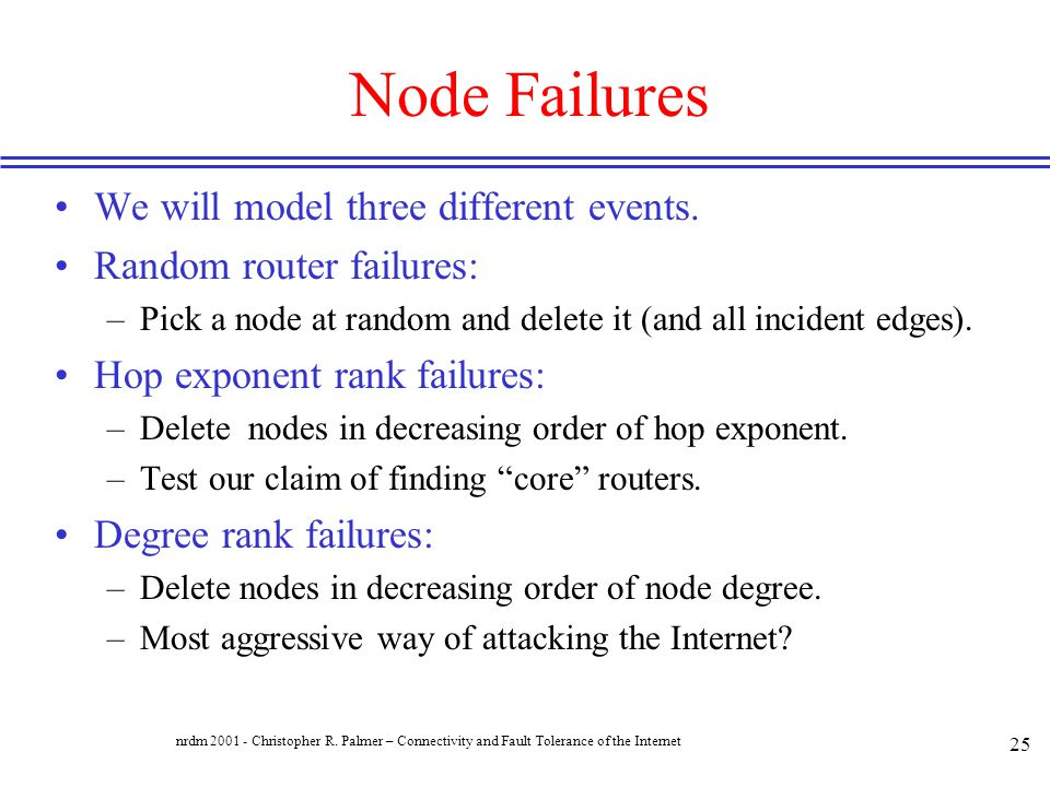 Node Failures We will model three different events.