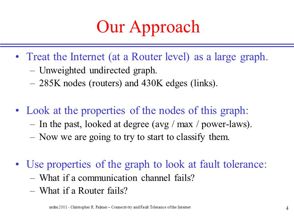 Our Approach Treat the Internet (at a Router level) as a large graph.