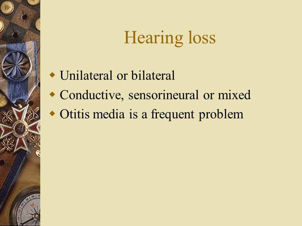 Hearing loss Unilateral or bilateral