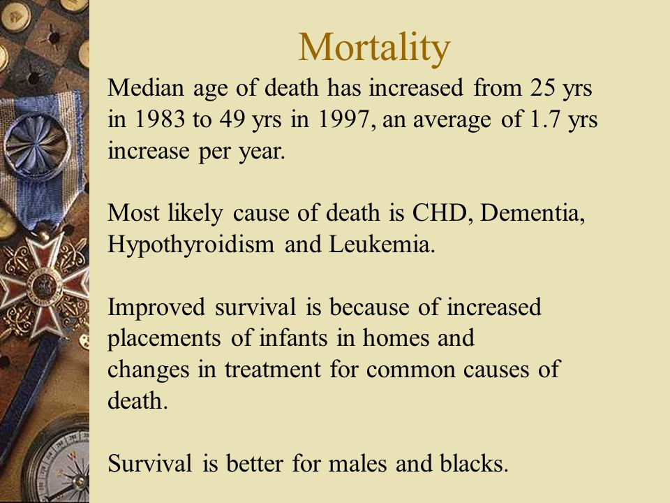 Mortality Median age of death has increased from 25 yrs in 1983 to 49 yrs in 1997, an average of 1.7 yrs increase per year.