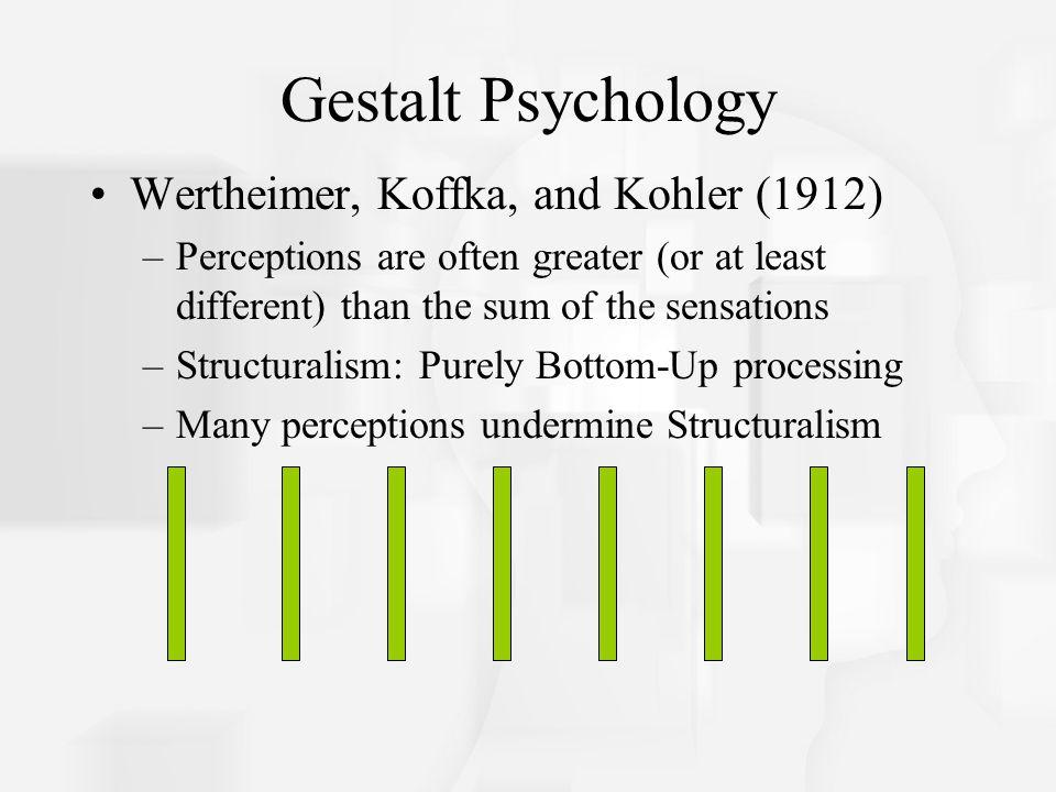 Gestalt Psychology Wertheimer, Koffka, and Kohler (1912)