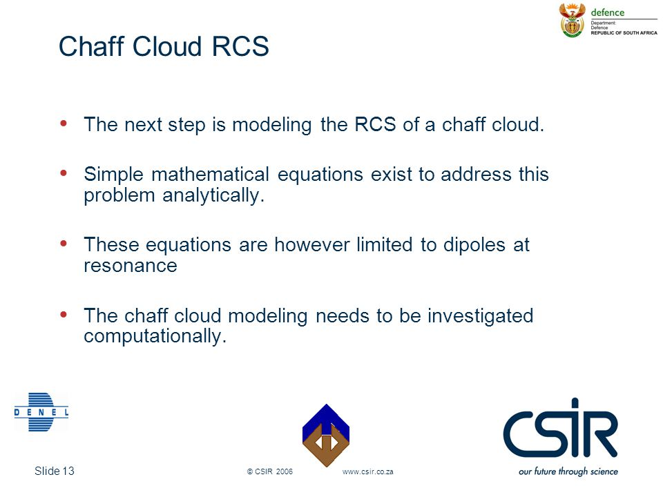 Chaff Cloud RCS The next step is modeling the RCS of a chaff cloud.
