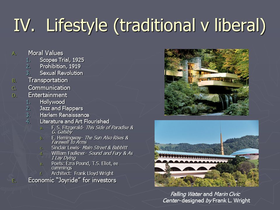 IV. Lifestyle (traditional v liberal)