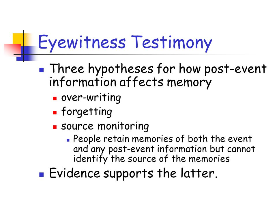Eyewitness Testimony Three hypotheses for how post-event information affects memory. over-writing.