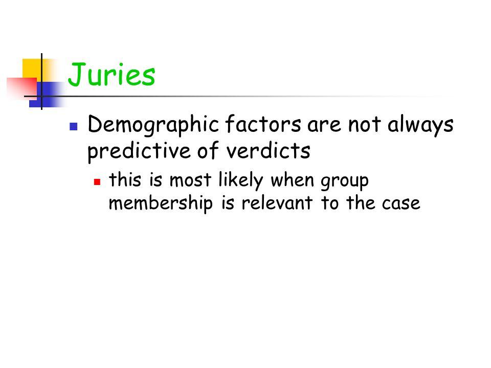 Juries Demographic factors are not always predictive of verdicts