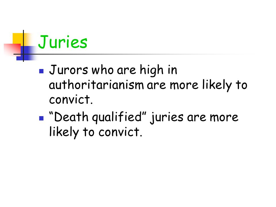 Juries Jurors who are high in authoritarianism are more likely to convict.