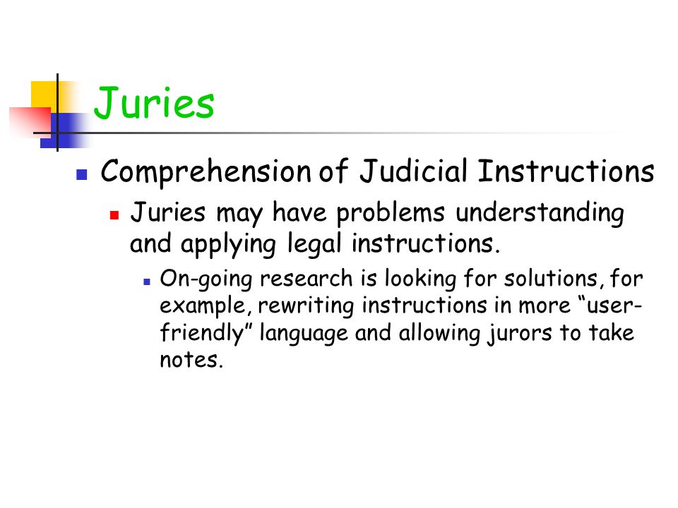 Juries Comprehension of Judicial Instructions