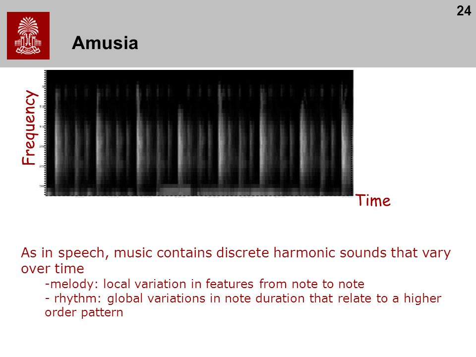 Amusia Frequency. Time. As in speech, music contains discrete harmonic sounds that vary over time.