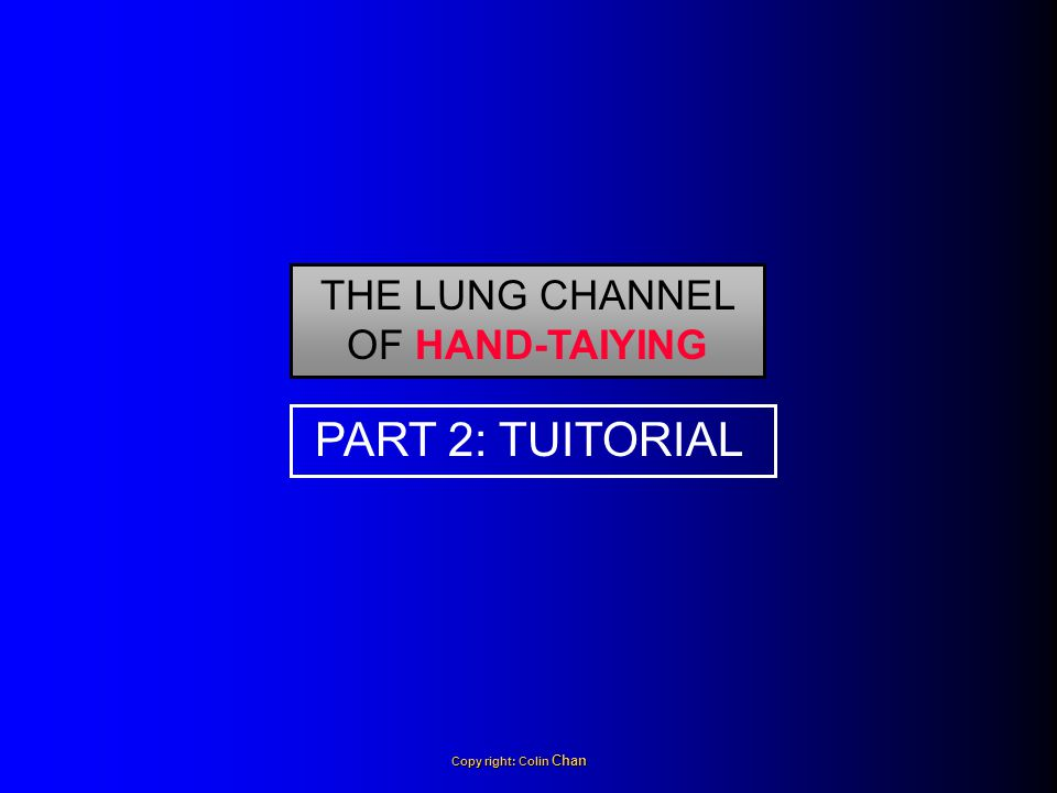 THE LUNG CHANNEL OF HAND-TAIYING