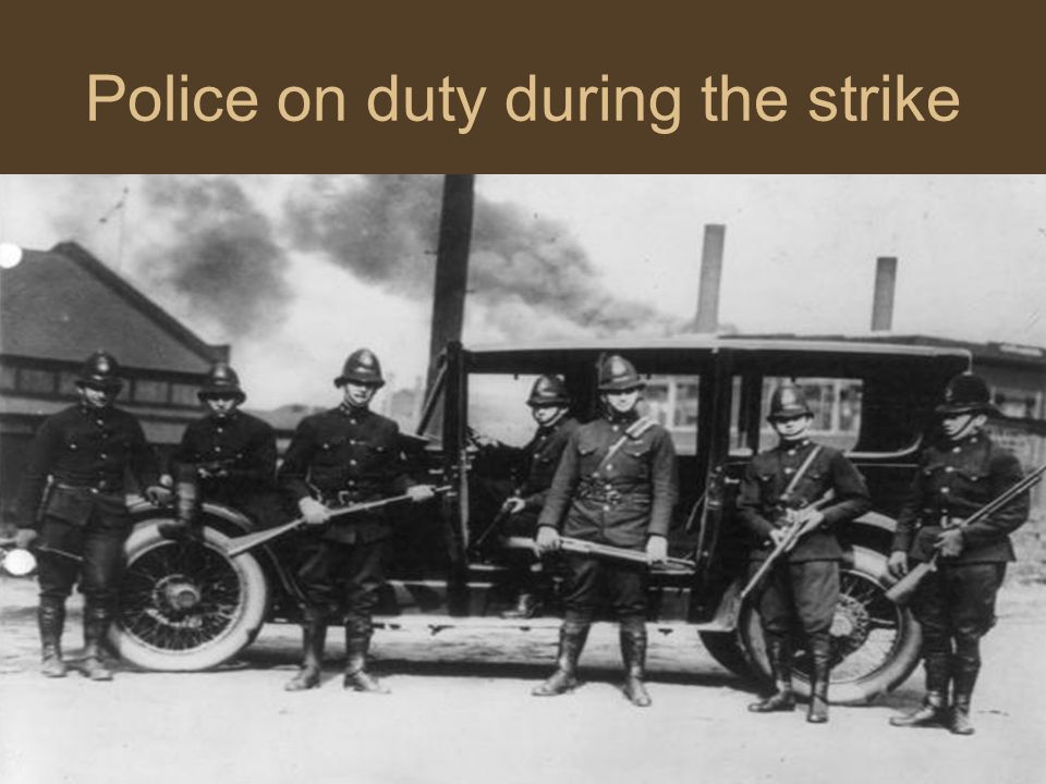 Police on duty during the strike