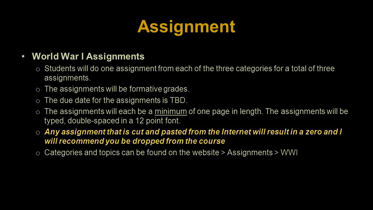 Assignment World War I Assignments