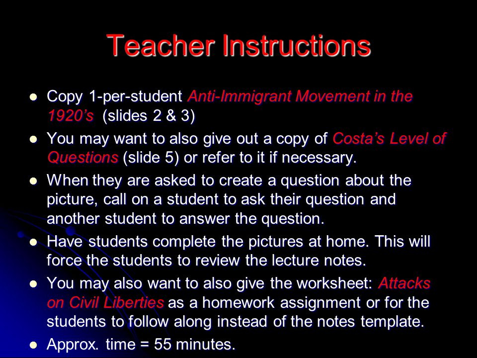 Teacher Instructions Copy 1-per-student Anti-Immigrant Movement in the 1920's (slides 2 & 3)