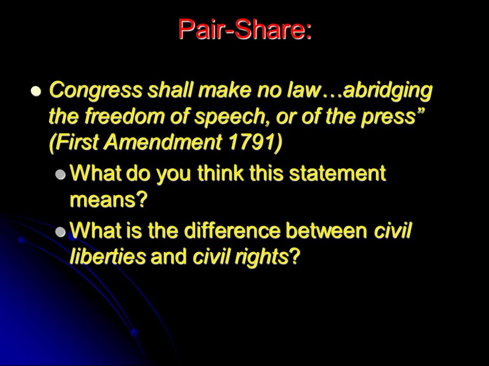 Pair-Share: Congress shall make no law…abridging the freedom of speech, or of the press (First Amendment 1791)