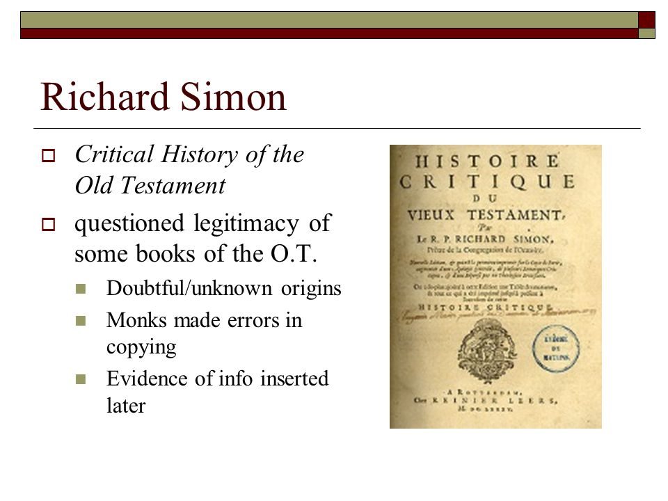 Richard Simon Critical History of the Old Testament