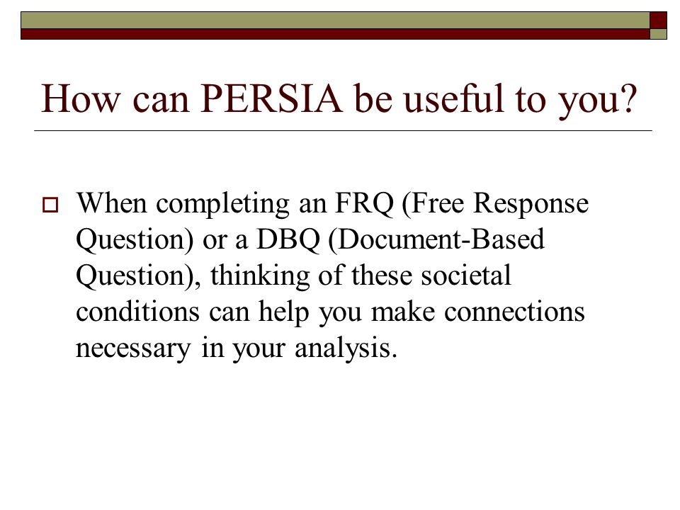 How can PERSIA be useful to you