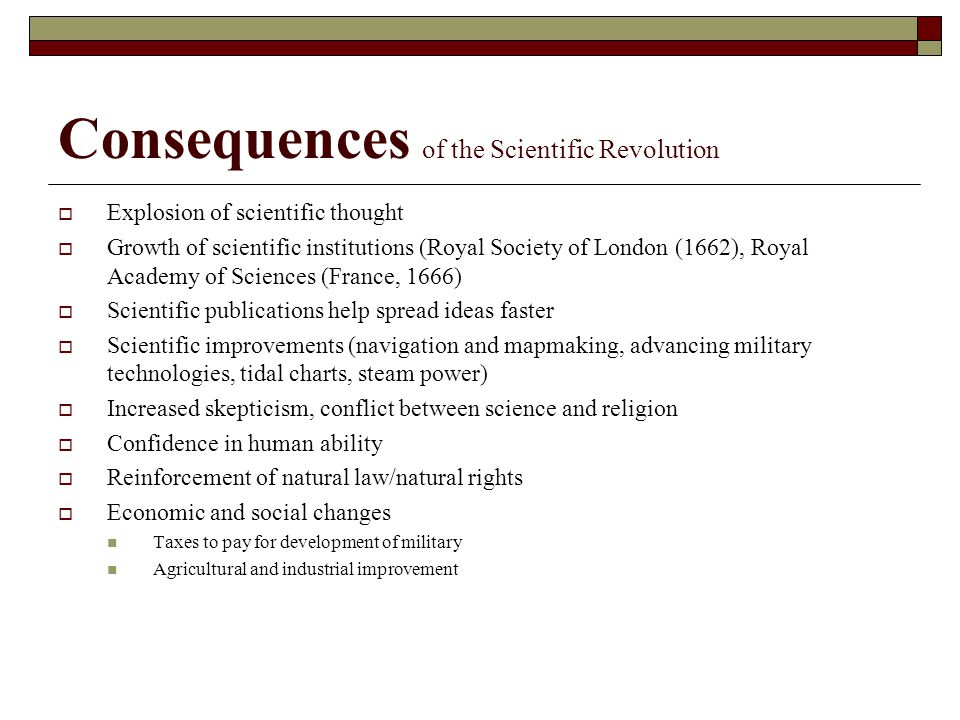 Consequences of the Scientific Revolution