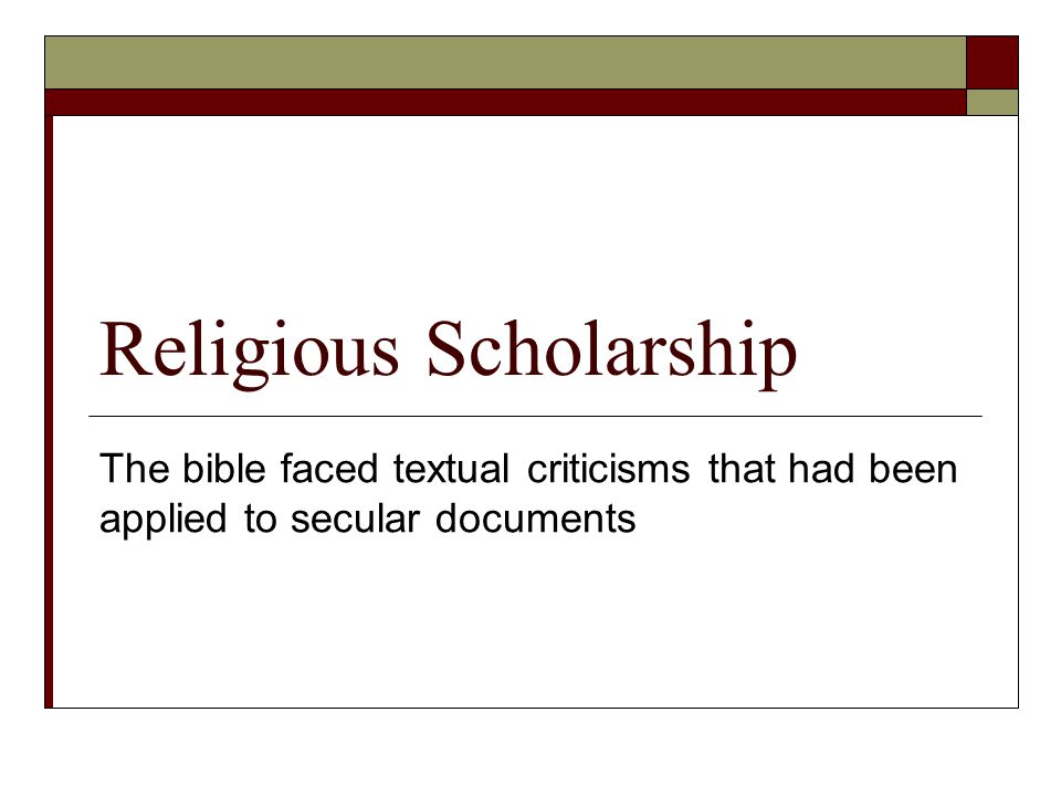 Religious Scholarship