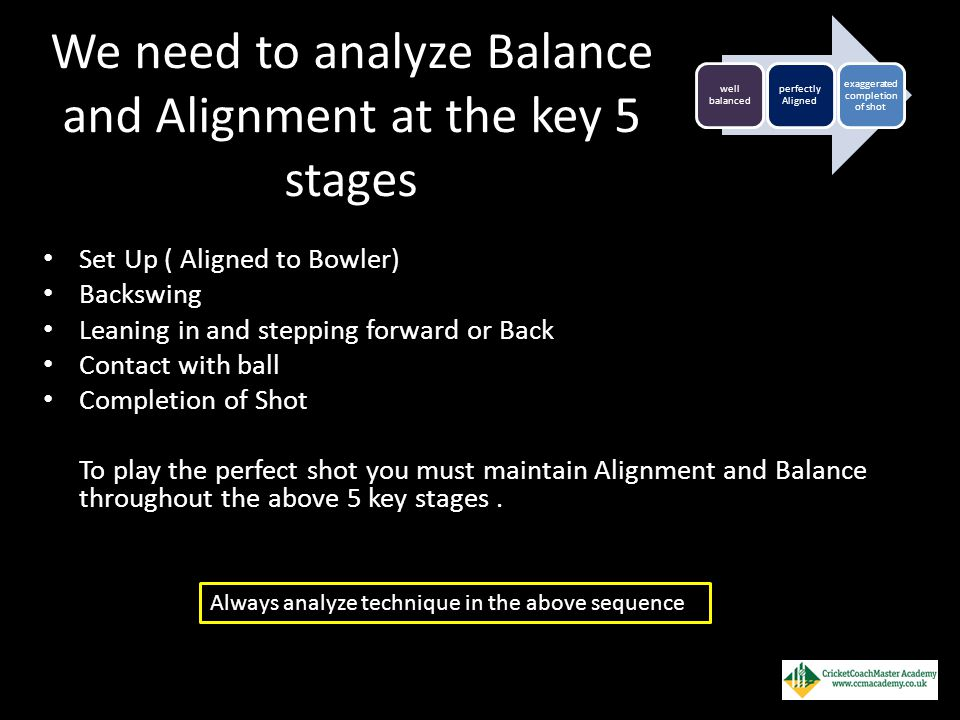 We need to analyze Balance and Alignment at the key 5 stages